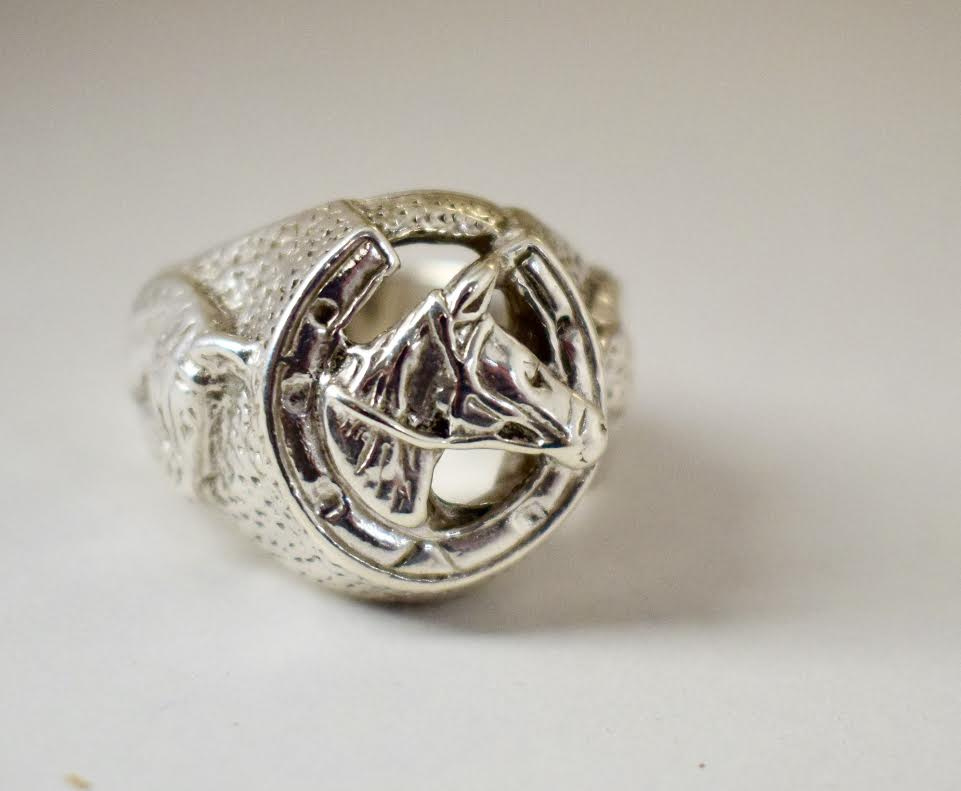 Horse Shoe With Horse Detail Ring Sterling Silver